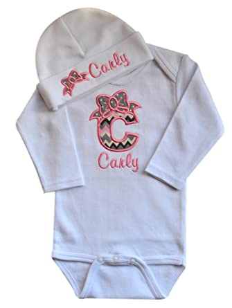 Amazon Com Funny Girl Designs Baby Girl Embroidered Initial Onesie
