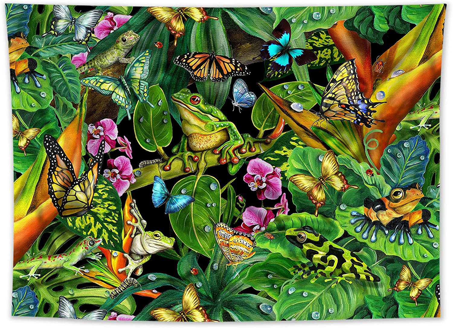 HVEST Frog Tapestry Insect Butterfly and Green Plant in The Tropical Rainforest Tapestry Natural Scenery Art Tapestries Wall Hanging for Bedroom Living Room Dorm Home Indie Decor,60x40 Inchs