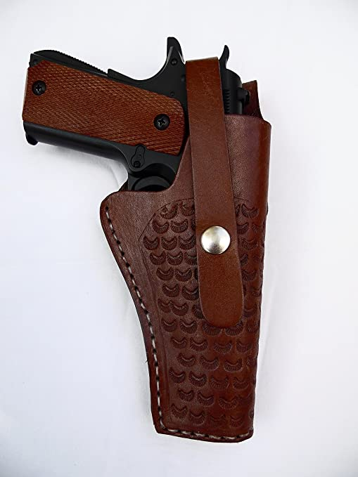 Western Gun Holster - Brown - Tooled Leather - for 1911 Colt, Springfield,  Kimber, TISAS, and others