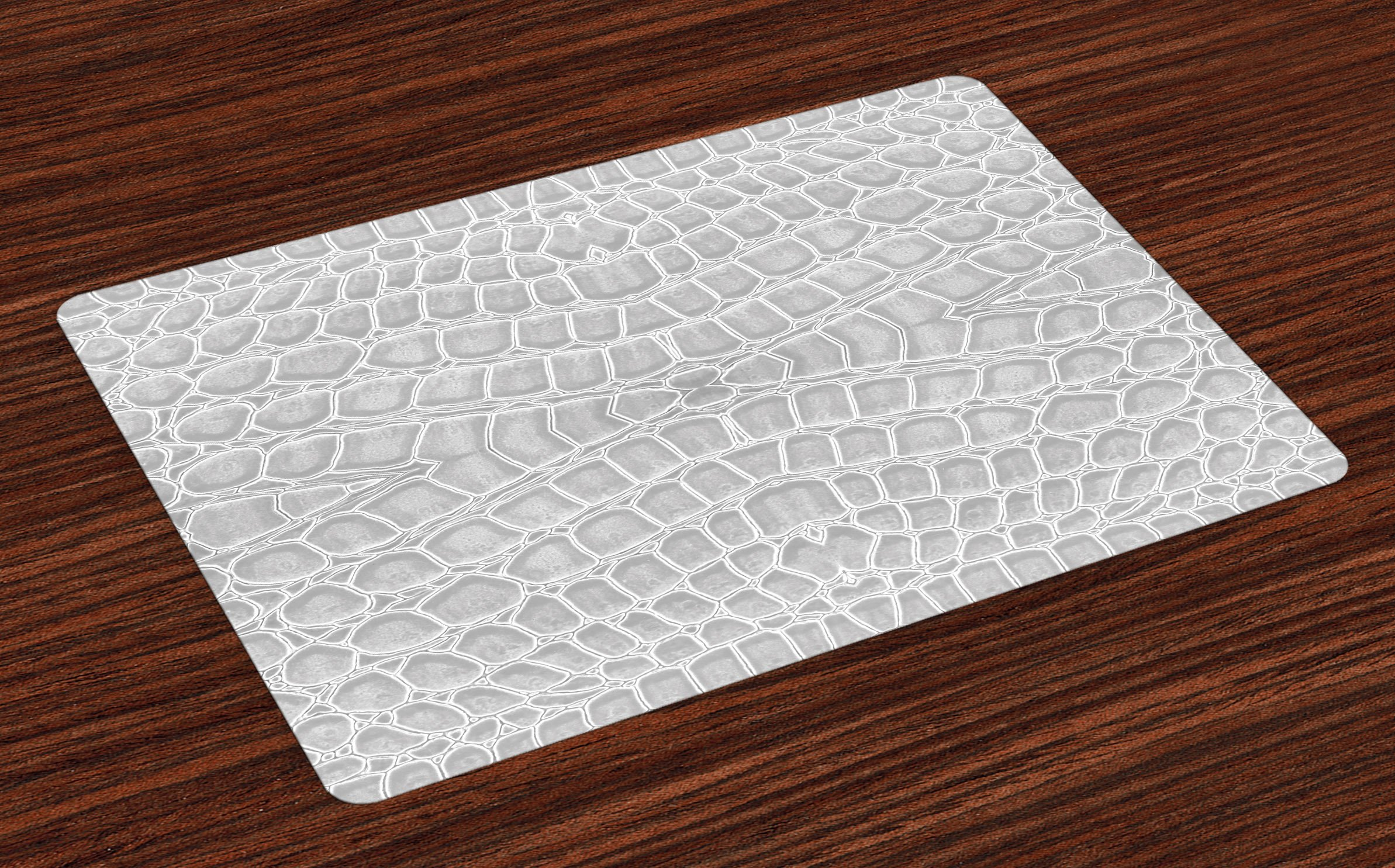 Lunarable Animal Print Place Mats Set of 4, Crocodile Leather Pattern in Material Fashion Theme Design Print, Washable Fabric Placemats for Dining Room Kitchen Table Decoration, Pale Gray