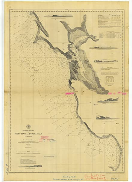 8 X 12 Inch 1877 California Old Nautical Map Drawing Chart Of Pacific Coast From Point