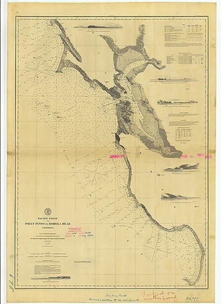Amazoncom 8 x 12 inch 1877 California old nautical map drawing