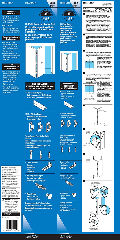 852951 1-Kit The Hillman Group Hardware Essentials Bi-Fold Door Hardware Set 36 Opening Brass