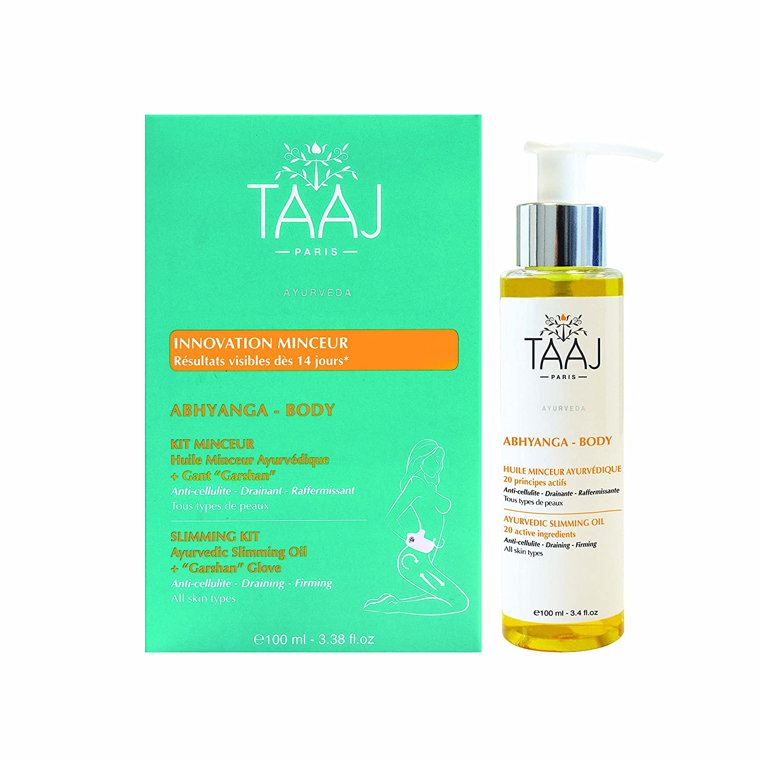 Taaj Abhyanga Slimming Kit Ayurvedic Slimming Oil 100ml + Garshan Glove