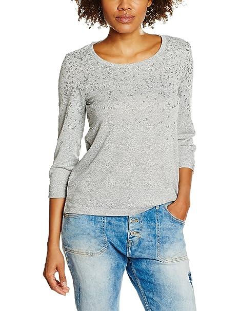 Cortefiel 3.T.M.CTA MOTITAS Brillos, Camiseta para Mujer, Greys (43)