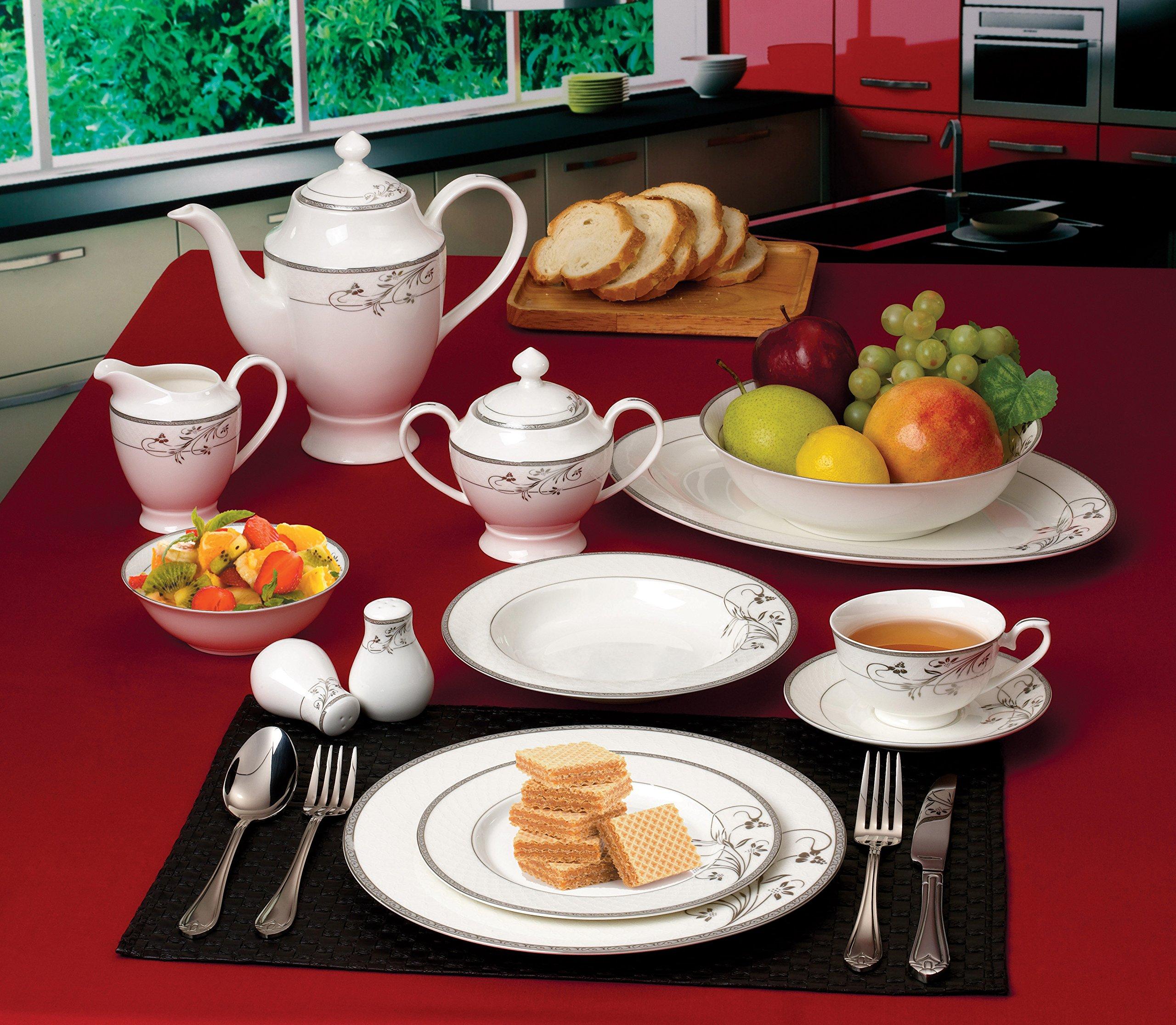 Lorenzo 57 Piece Elegant Bone China Service for 8 Viola Dinnerware Sets, Silver - 6 Piece Place Setting Translucent Bone China Includes Serving Pieces - kitchen-tabletop, kitchen-dining-room, dinnerware-sets - 91paR6Z3AsL -