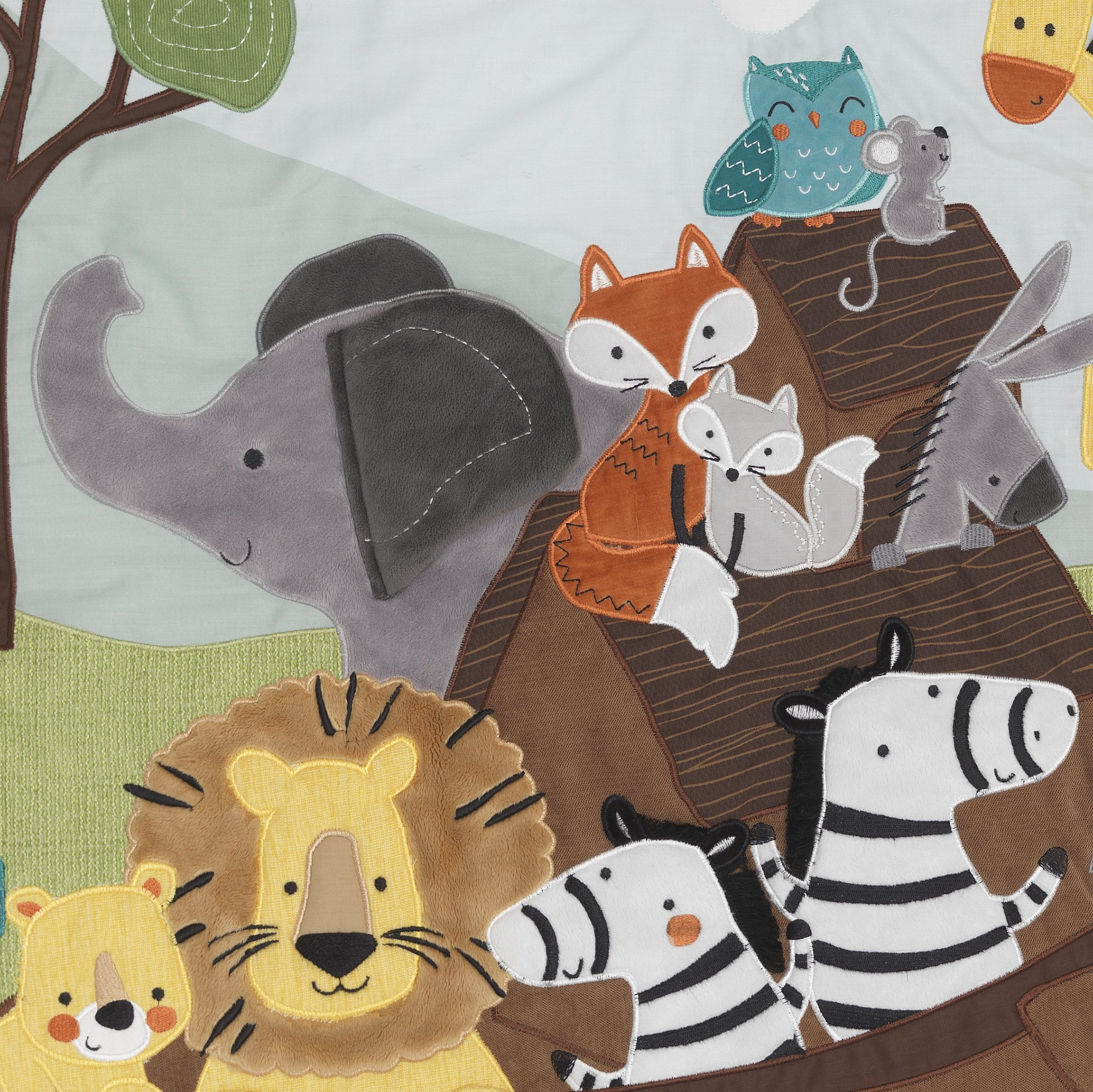 Lambs & Ivy Two of A Kind Noah'S Ark Animals 4 Piece Crib Bedding Set, Blue/Gray by Lambs & Ivy (Image #3)