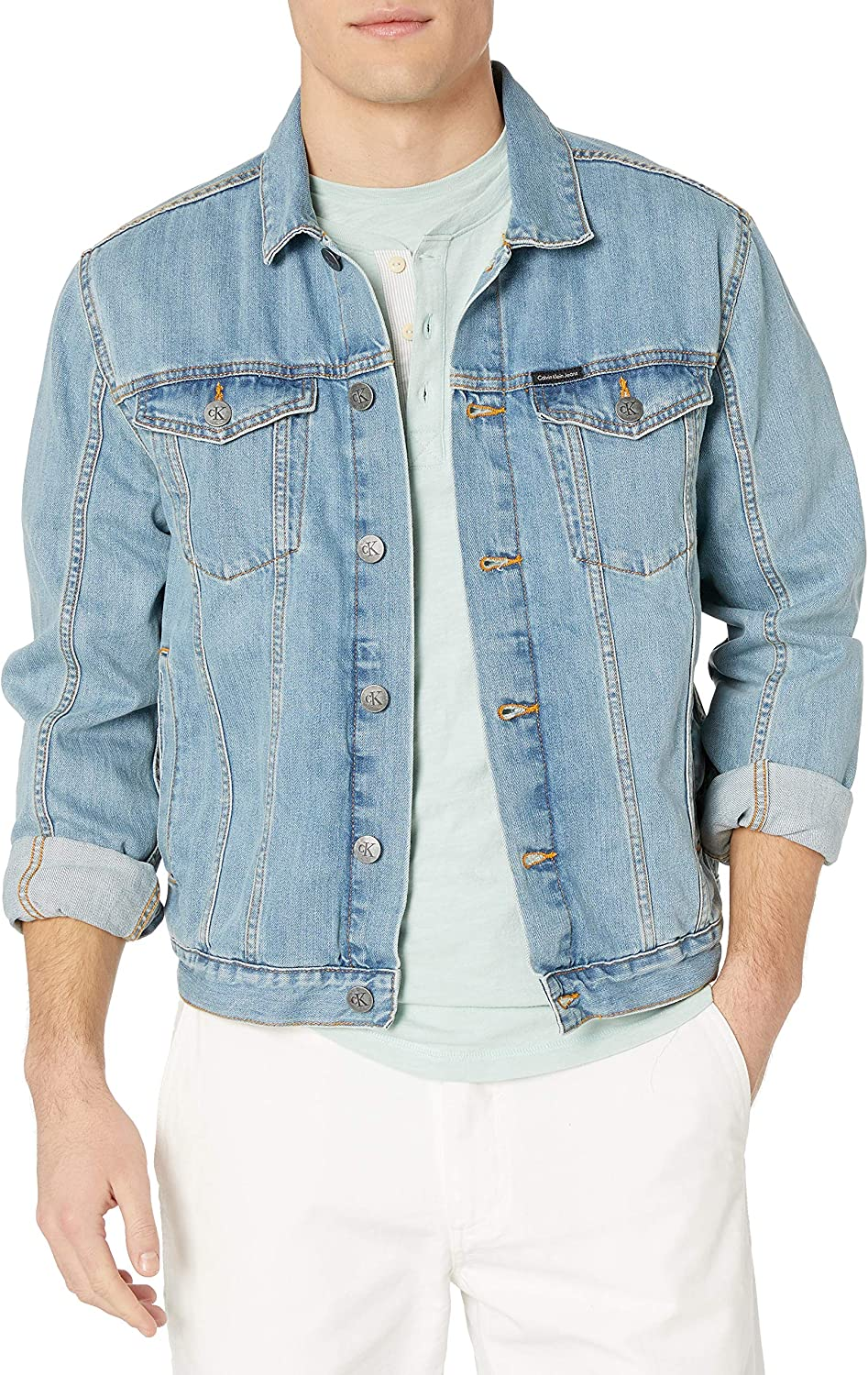 Calvin Klein Men's Denim-Trucker Jacket, Light Wash