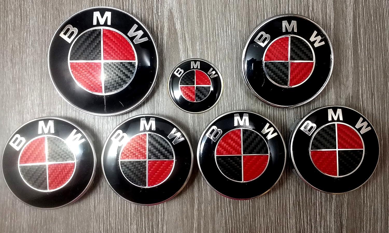 RED /& BLACK CARBON FIBER BMW Badge Emblem Overlay HOOD TRUNK RIMS FITS ALL BMW