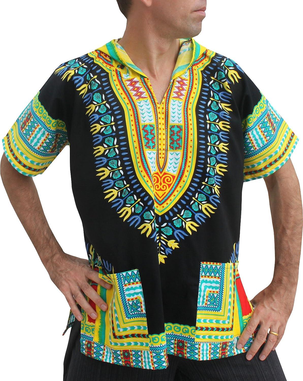 Multi  Black  Yellow Full Funk Dashiki Light Hoody in Black Base colors Festival Party Shirt Short Sleeve