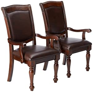 24/7 Shop at Home 247SHOPATHOME IDF-3350AC Dining-Chairs, Brown Cherry