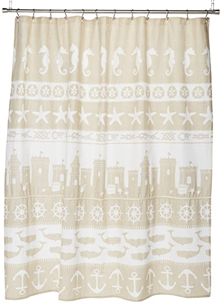 Avanti Linens Sea And Sand72quot X 72quot Shower CurtainCoastal Nautical Seashell