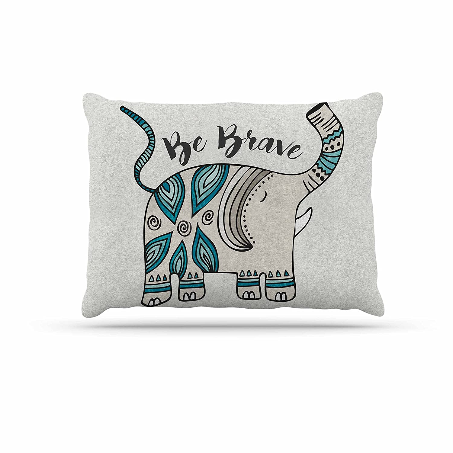 KESS InHouse Pom Graphic Design Be Brave Teal Typography Dog Bed, 30  x 40
