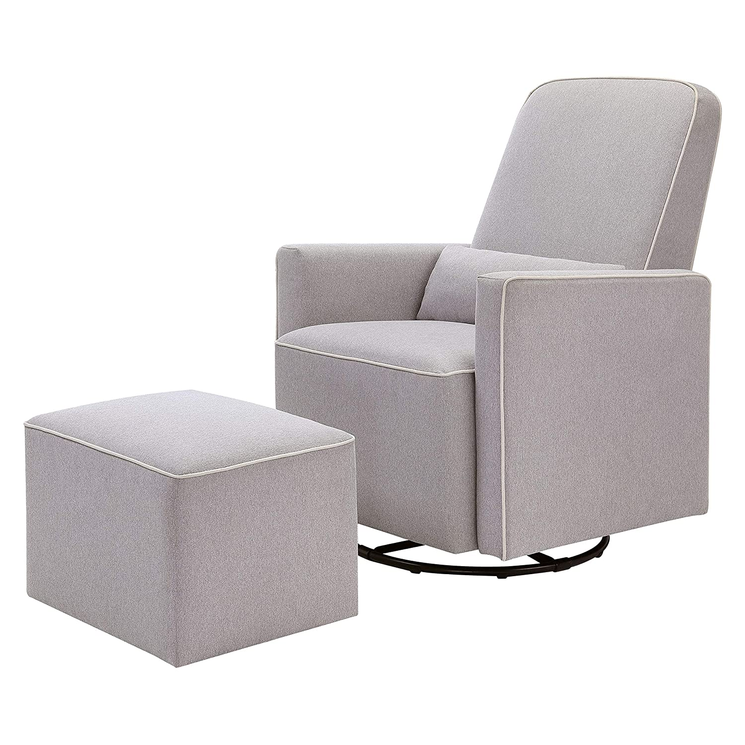 DaVinci Olive Upholstered Swivel Glider with Bonus Ottoman in Grey with Cream Piping