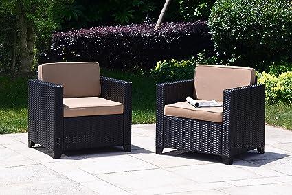 Amazon Com Cloud Mountain Set Of 2 Patio Wicker Club Chairs Set