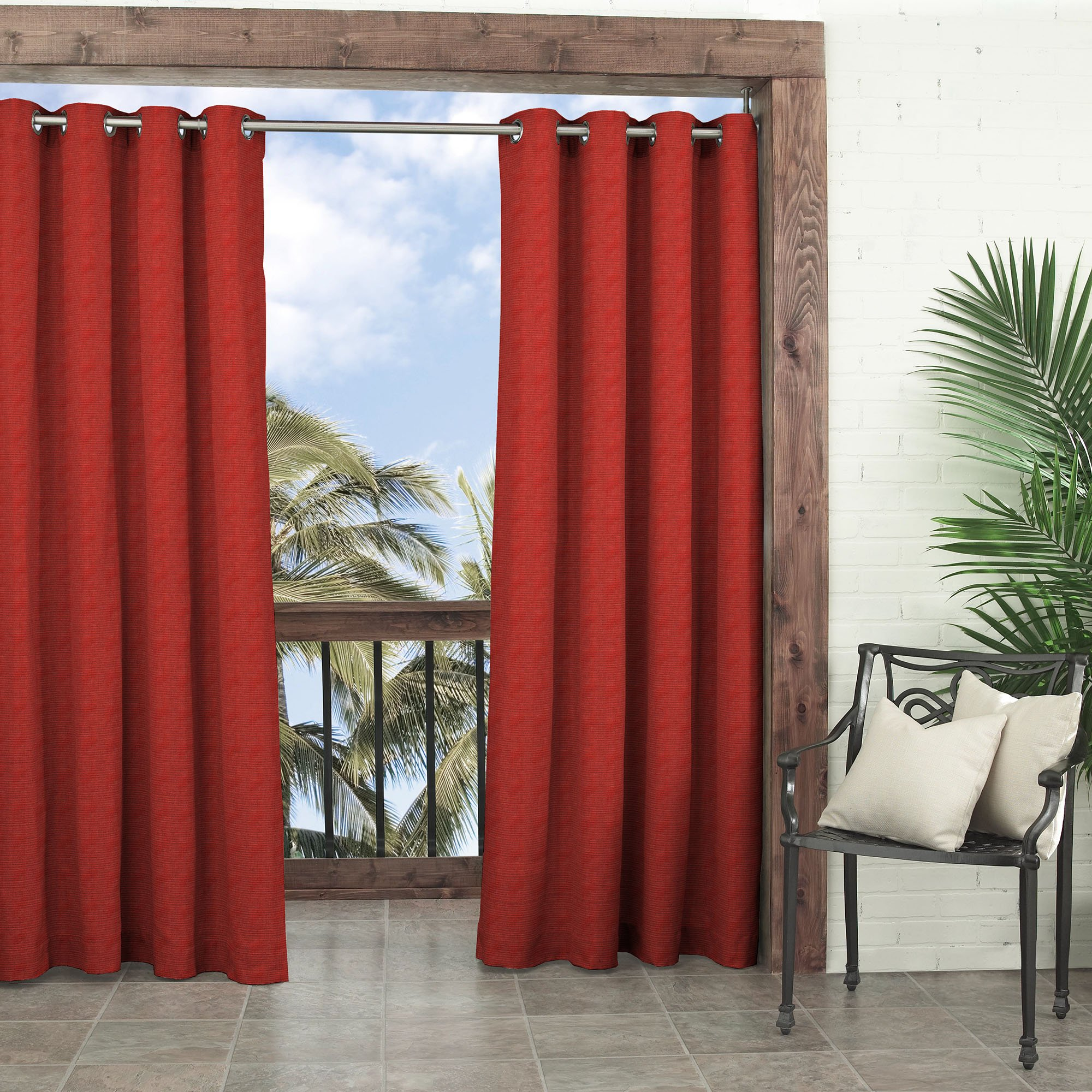 Parasol 14025052108CHL Key Largo 52-Inch by 108-Inch Indoor / Outdoor Single Curtain Panel, Chili