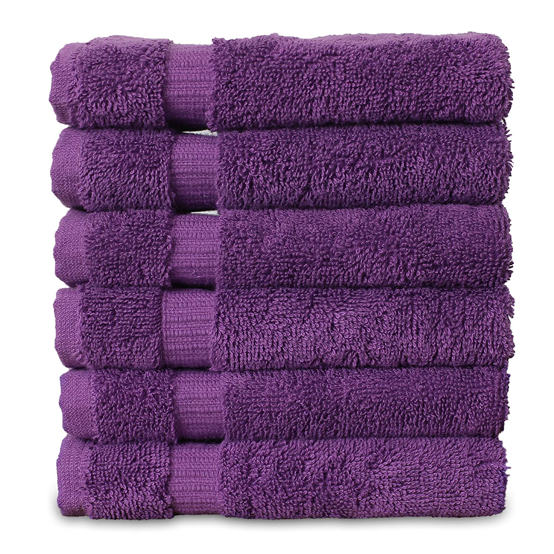 Luxury Hotel & Spa Towel Turkish Cotton Washcloths - Eggplant - Dobby Border - Set of 6