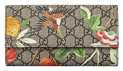 c7ebafc9db6 Image Unavailable. Image not available for. Color  Gucci Bird Flower tian  GG Wallet Leather Foldover Red interior Wallet
