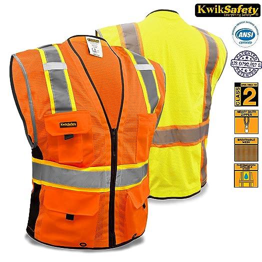KwikSafety Class 2 Deluxe Orange Hi Vis Vest