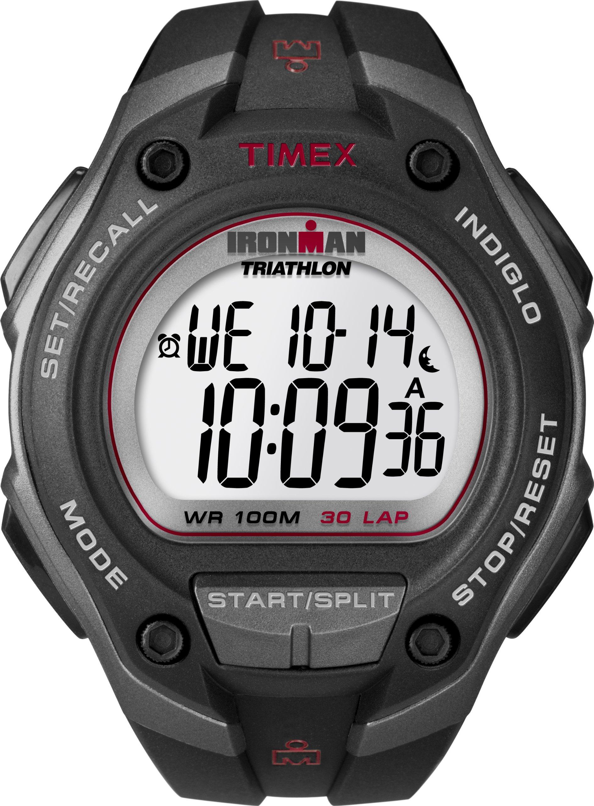 Timex Men's T5K417 Ironman Classic 30 Oversized Black/Gray/Red Resin Strap Watch by Timex