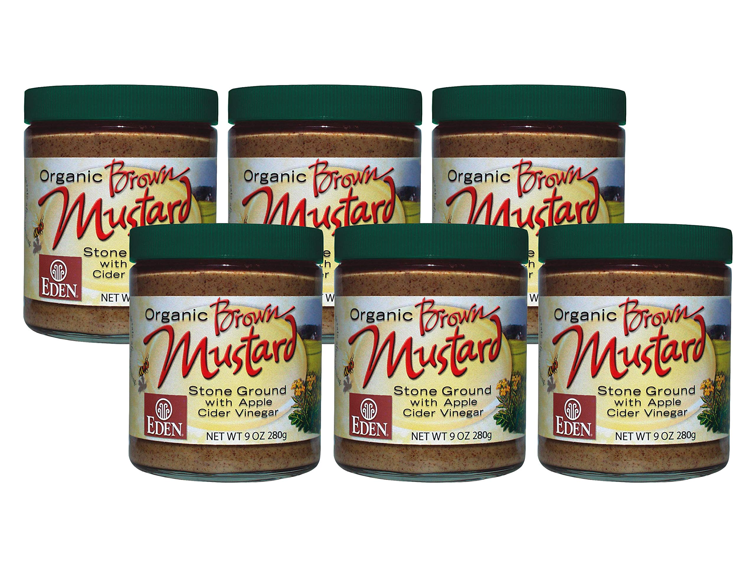 Organic Brown Mustard - 9 Oz. Glass Jar (Pack of 6)