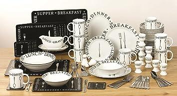 100 Piece Black and White Script Combo Dinner Set Amazon.co.uk Kitchen u0026 Home & 100 Piece Black and White Script Combo Dinner Set: Amazon.co.uk ...