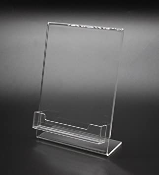 Amazon fixture displays 5x 7lucite plexiglass clear acrylic fixture displays 5x 7quotlucite plexiglass clear acrylic slanted sign holder with business card holder colourmoves Gallery
