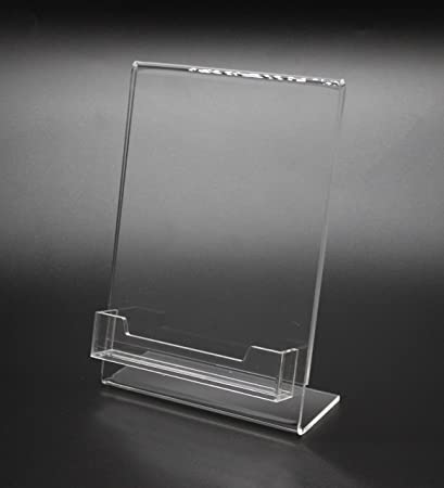 Amazon fixturedisplays 5x 7lucite plexiglass clear acrylic fixturedisplays 5x 7quotlucite plexiglass clear acrylic slanted sign holder with business card holder 20046 colourmoves
