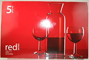Home Essentials Red Series 5pc Carafe and Wine Glass Set