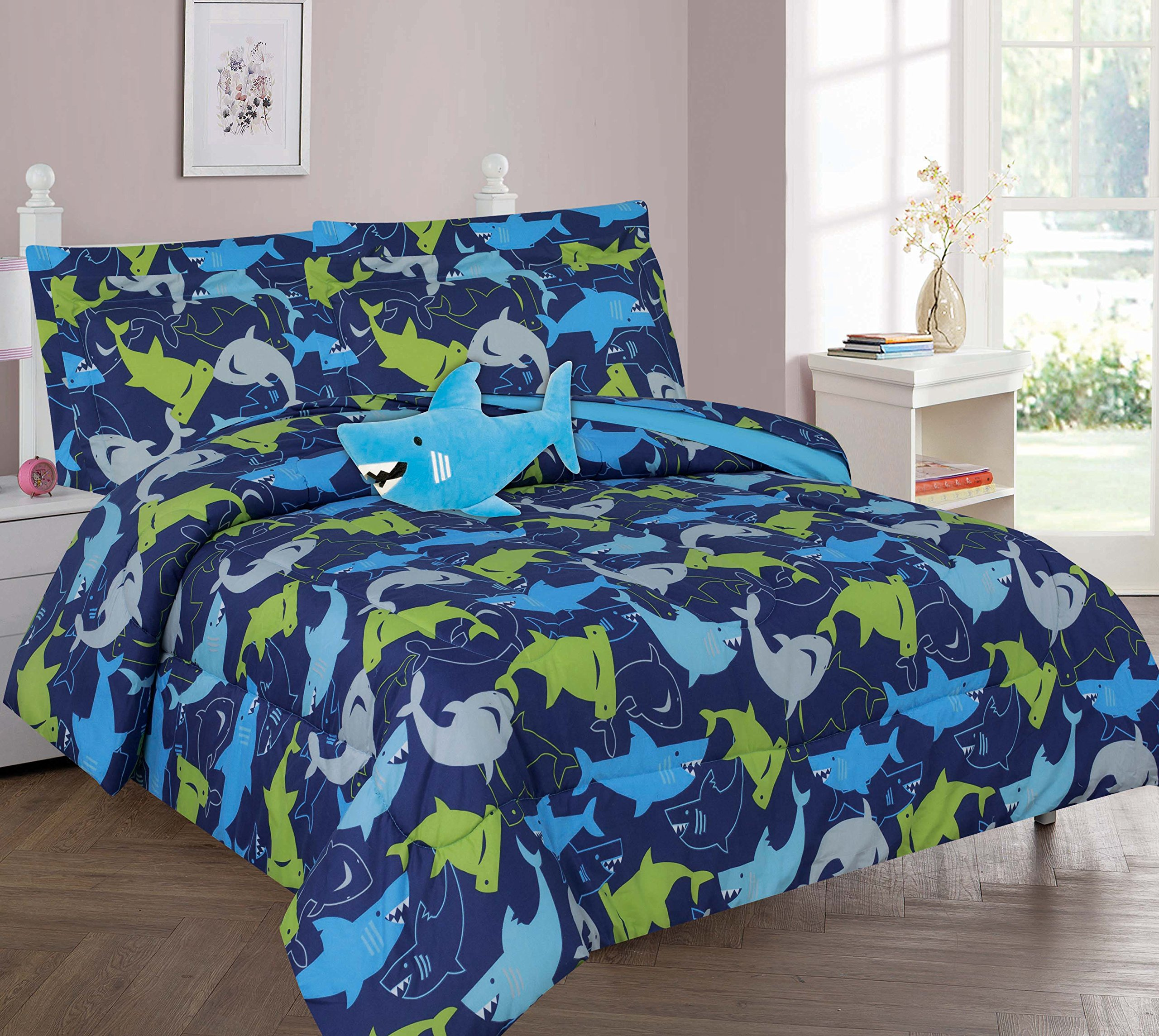 Golden Linens Full size 8 pieces Reversible Printed Lime Green, Blue, Navy Blue and grey Shark Microfiber Kids Bed In Bag Bedding Comforter with sheets and pillow cases