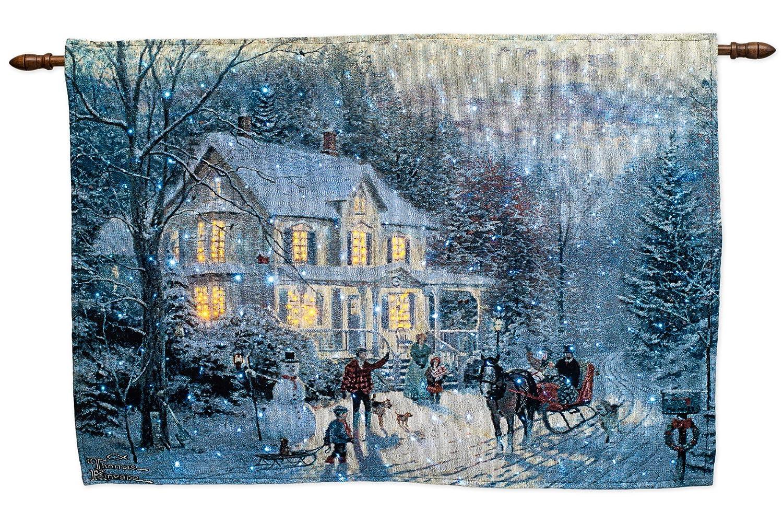 Amazon.com: Thomas Kinkade Home For The Holidays Fiber Optic Wall ...