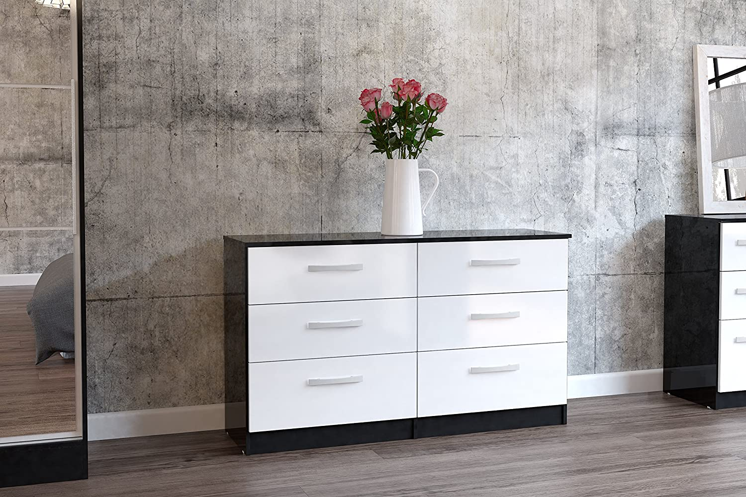 birlea lynx 6 drawer chest high gloss black and white amazon co