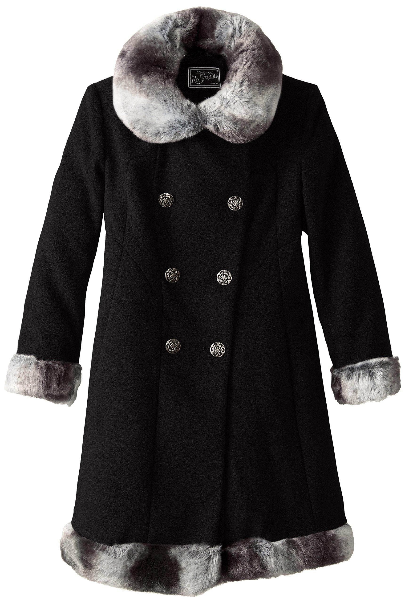 Rothschild Big Girls' Dressy Coat with Faux Fur Trim, Black, 8
