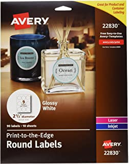 Amazon com : Avery Round Labels for Laser & Inkjet Printers