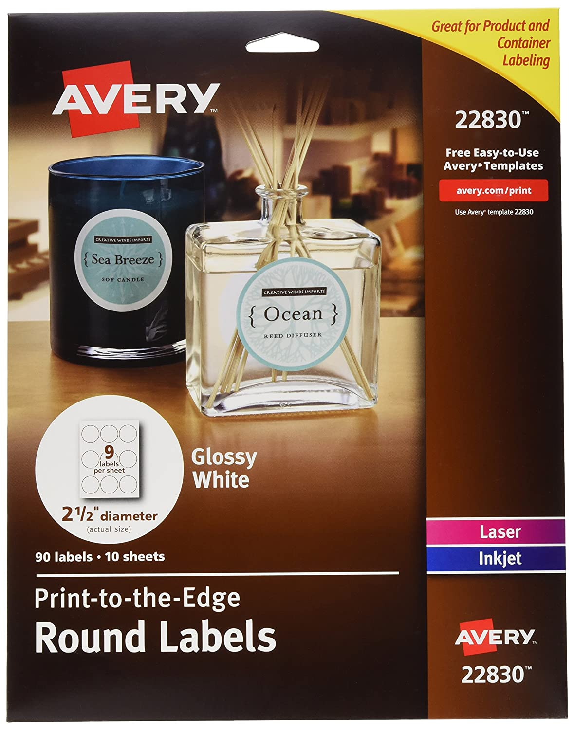 "Avery Round Labels for Laser & Inkjet Printers, 2.5"", 450 Glossy White Labels Total, 5 Packs (22830)"