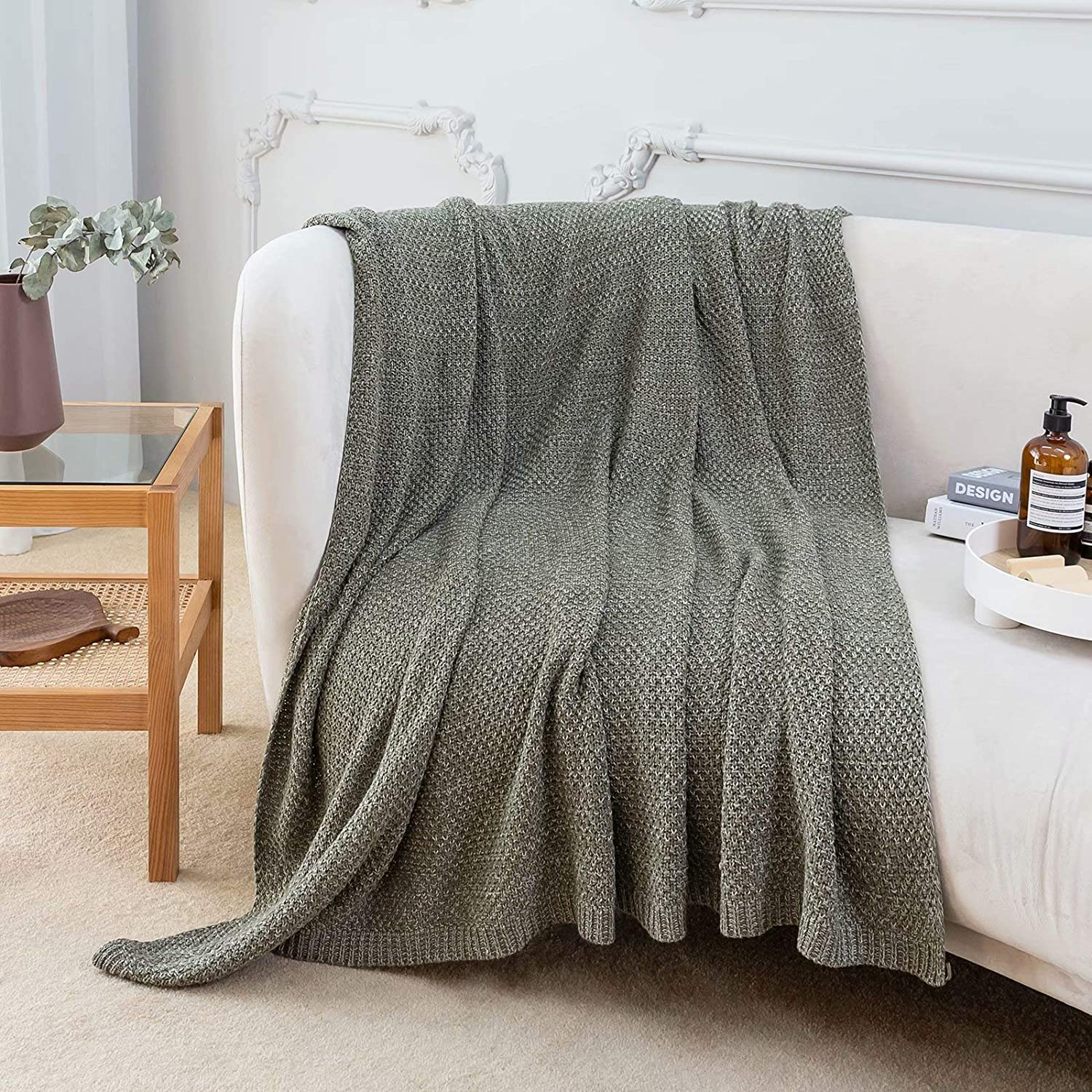 """Ausprophy Cotton Blanket Throw Knitted Throw Warm Cozy Super Soft Lightweight for Bed Sofa Chair Couch Home Decor 60"""" 80"""" Throw Olive"""