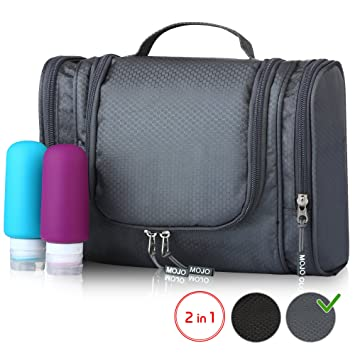 2a4e7a02a6 Hanging Toiletry Bag with Travel Bottles Set - Toiletry Kit - Shower Bag  for Men and