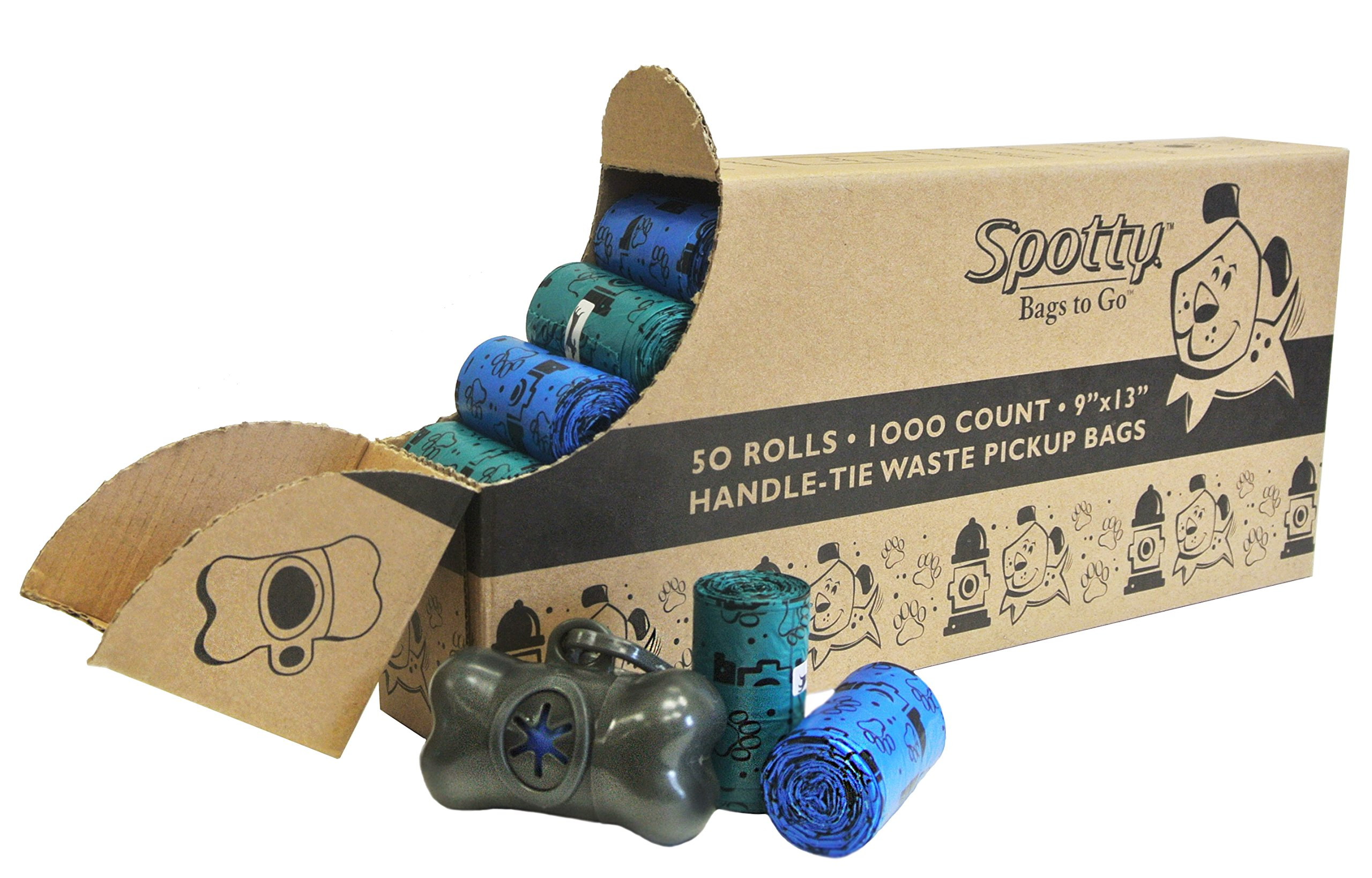 Spotty 1000 Count Disposal Handle Tie Bags, Teal, Blue and Gray