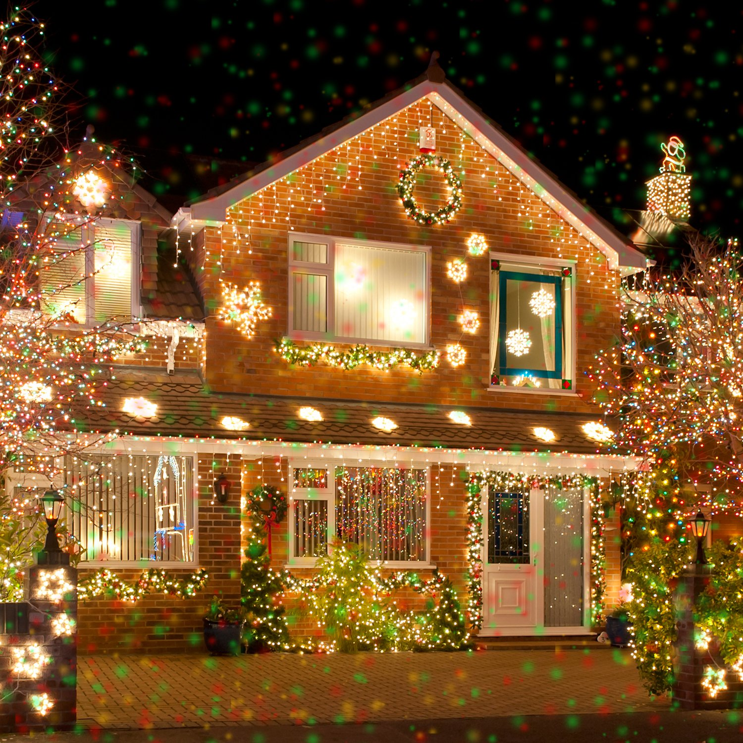 Christmas Lights Projector – Multicolor Rotating Led Christmas Shower lights, 10PCS Pattern Waterproof Lens Christmas Projector Lights Outdoor / Indoor for Celebration, Garden Decorations and more by Novapolt (Image #5)
