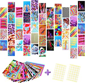 Fantecy 50 Pieces Indie Wall Collage Kit Aesthetic Pictures, Photo Wall Collage Aesthetic Room Decor, Indie Aesthetic Posters, 4 x 6 Inch Indie Wall Decor with Dot Points for Teen Girls, Room Decor