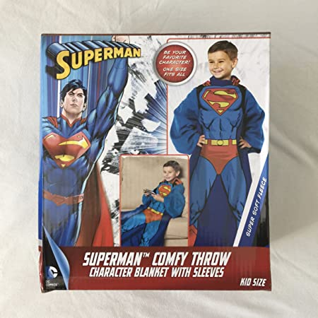 DC Comics Superman Comfy Throw Blanket With Sleeves Fleece Child 48