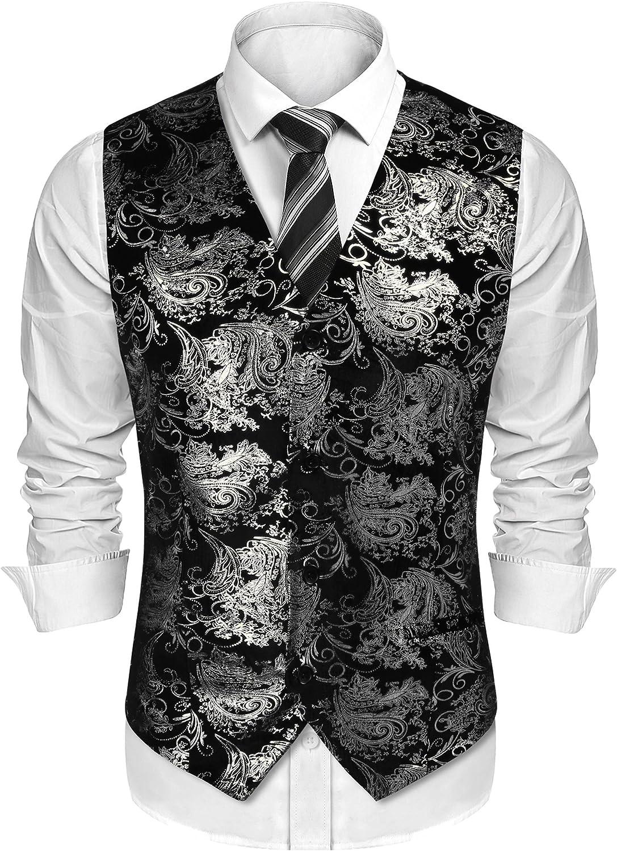 JINIDU Mens Classic Paisley Floral Suit Vest Fashion Waistcoat Tuxedo Vests