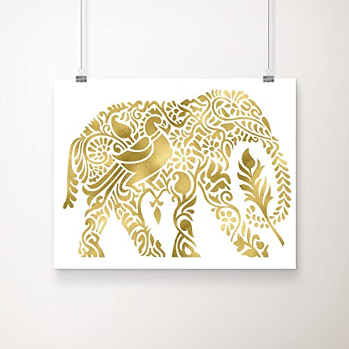 Amazon.com: Elephant Decor Gold Foil Art Print | Elephant Wall Art ...
