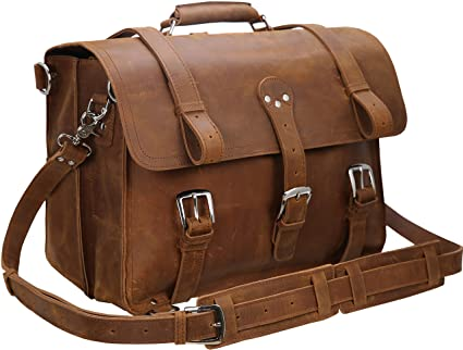 "cc1ee81fb3 Image Unavailable. Image not available for. Color  Iswee Men Thick Leather  Large 17"" Laptop Messenger Bag ..."