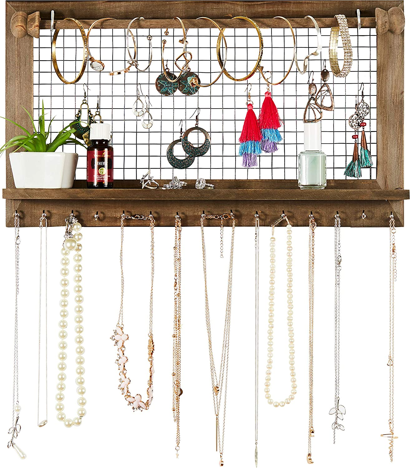 Rustic Jewelry Organizer with Bracelet Rod Wall Mounted l Wooden Wall Mount...
