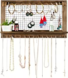 Rustic Jewelry Organizer with Bracelet Rod Wall