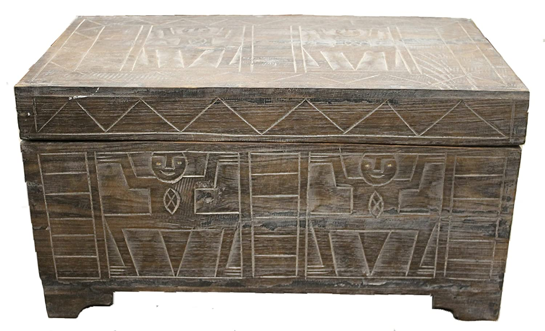 Wohnkult Truhe Schatztruhe 60 cm Kiste aus Palmenholz Afrika Krieger