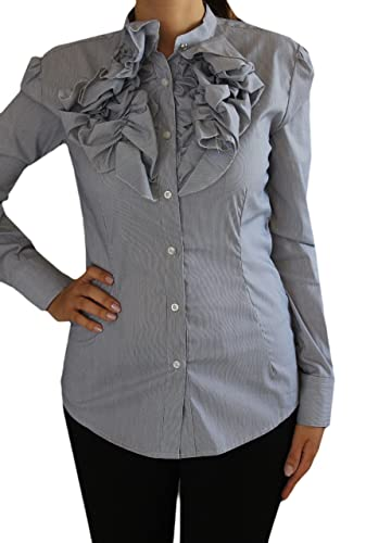 Camicia Donna Avvitata Bianca Elegante con Ruches Rebeka Ross Fashion Stile Moda S, Blu Righe, S