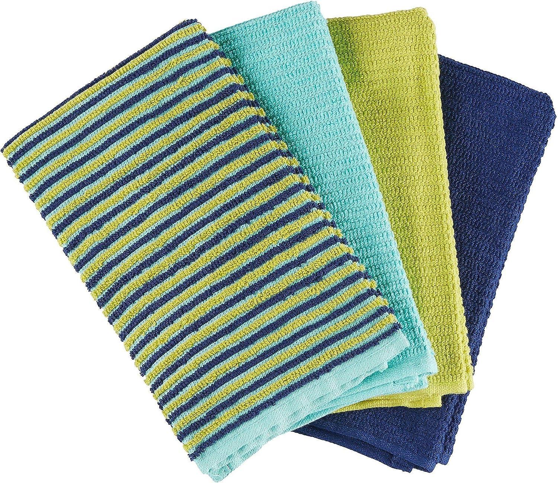 Bar Mop Towel Set Of 4 Color Cool Blues Stripe Amazon Co Uk Kitchen Home