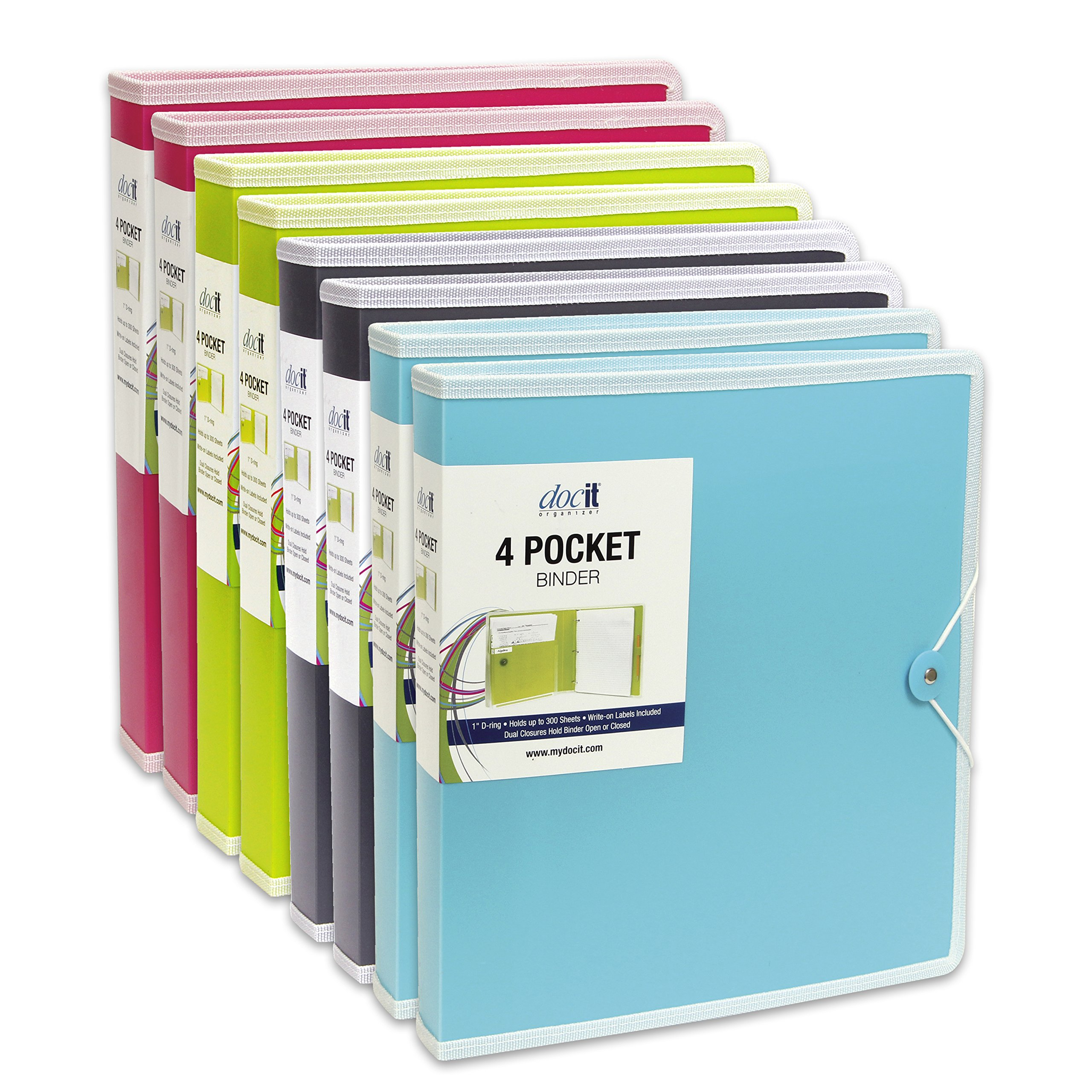 DocIt 4 Pocket Binder, Multi Pocket Folder and 1-inch 3 Ring Binder, Perfect for School, Office and Project Organization, Holds 300 Letter Size Papers, 8 Pack of Assorted Colors (00939)